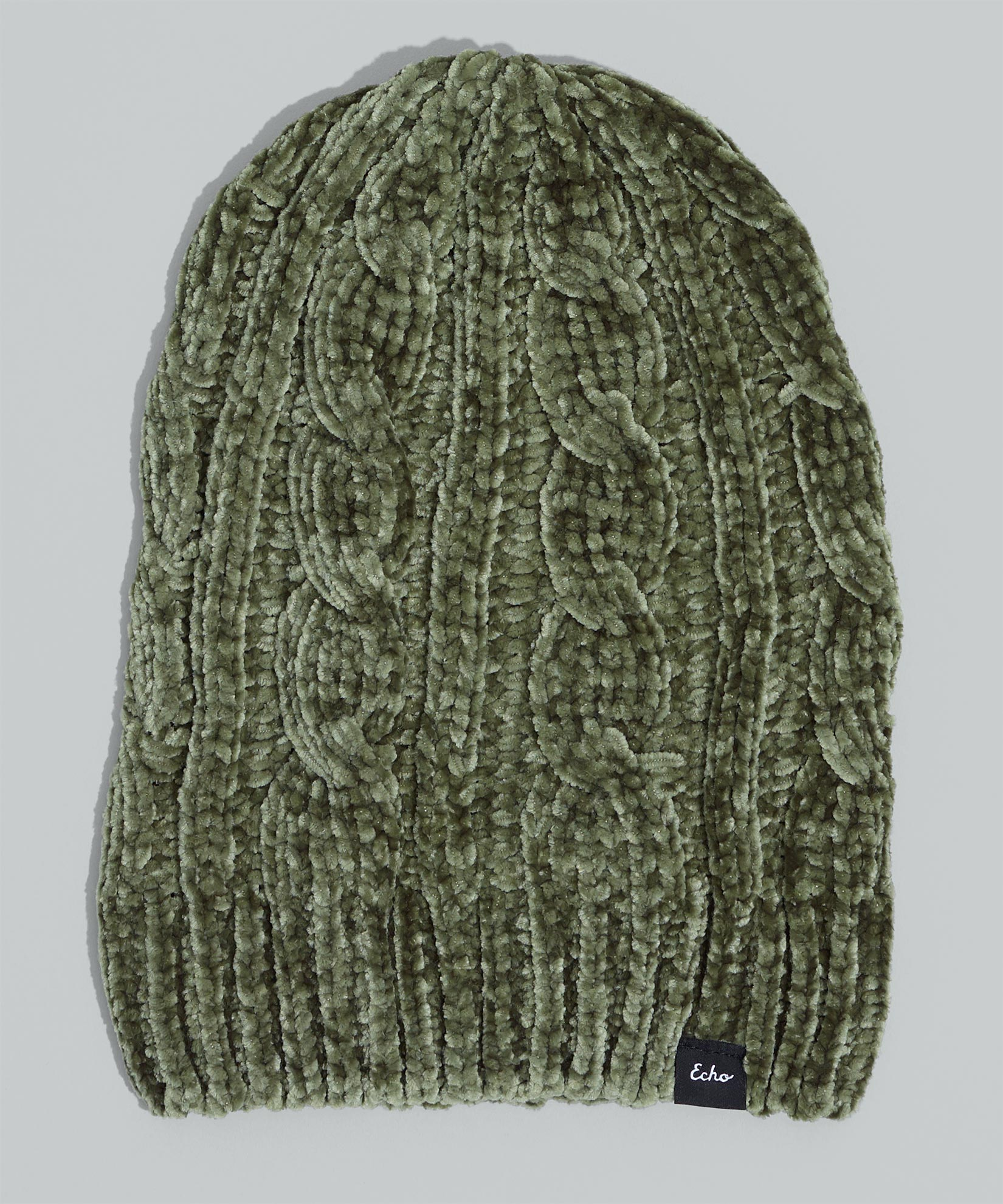 Olive - Chenille Slouchy Hat with Cables