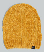 Gold - Chenille Slouchy Hat with Cables
