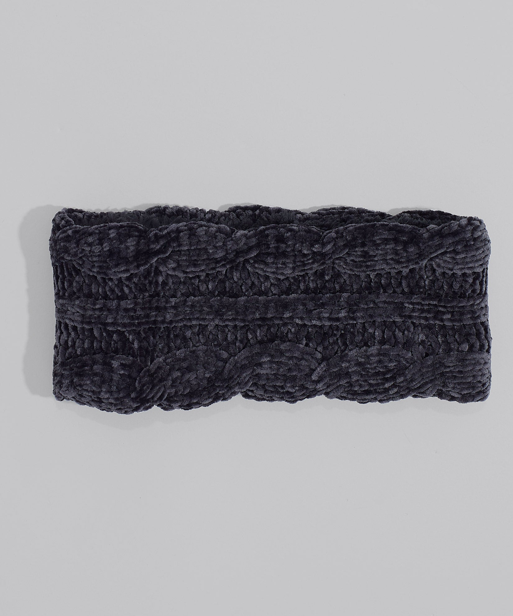 Black - Chenille Headband With Cables