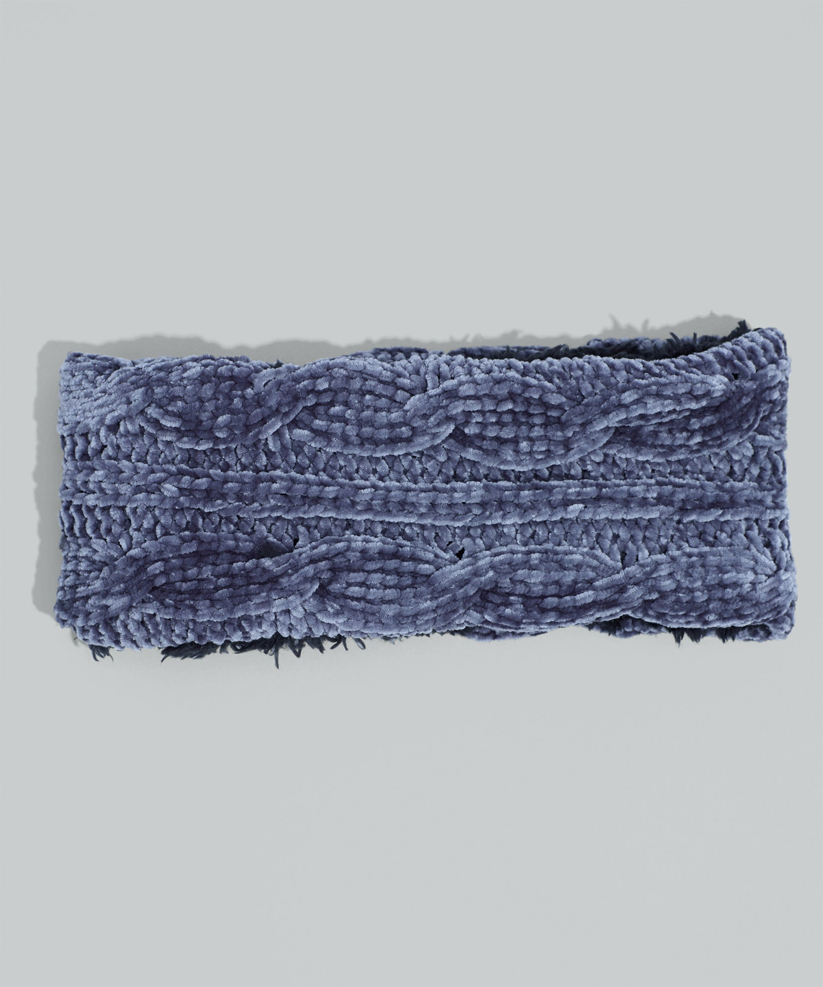 Charcoal - Chenille Headband With Cables