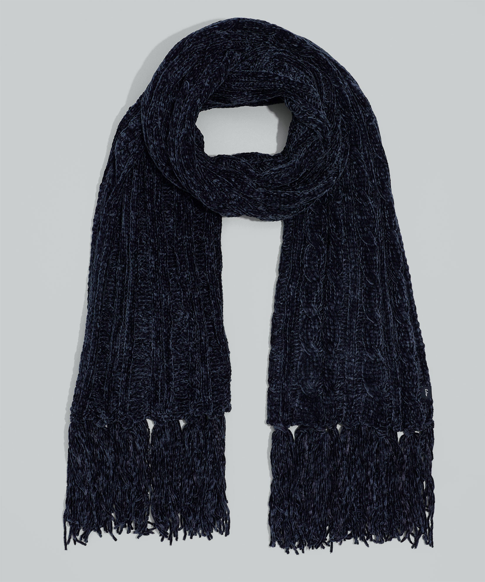 Echo Black - Chenille Muffler With Cables