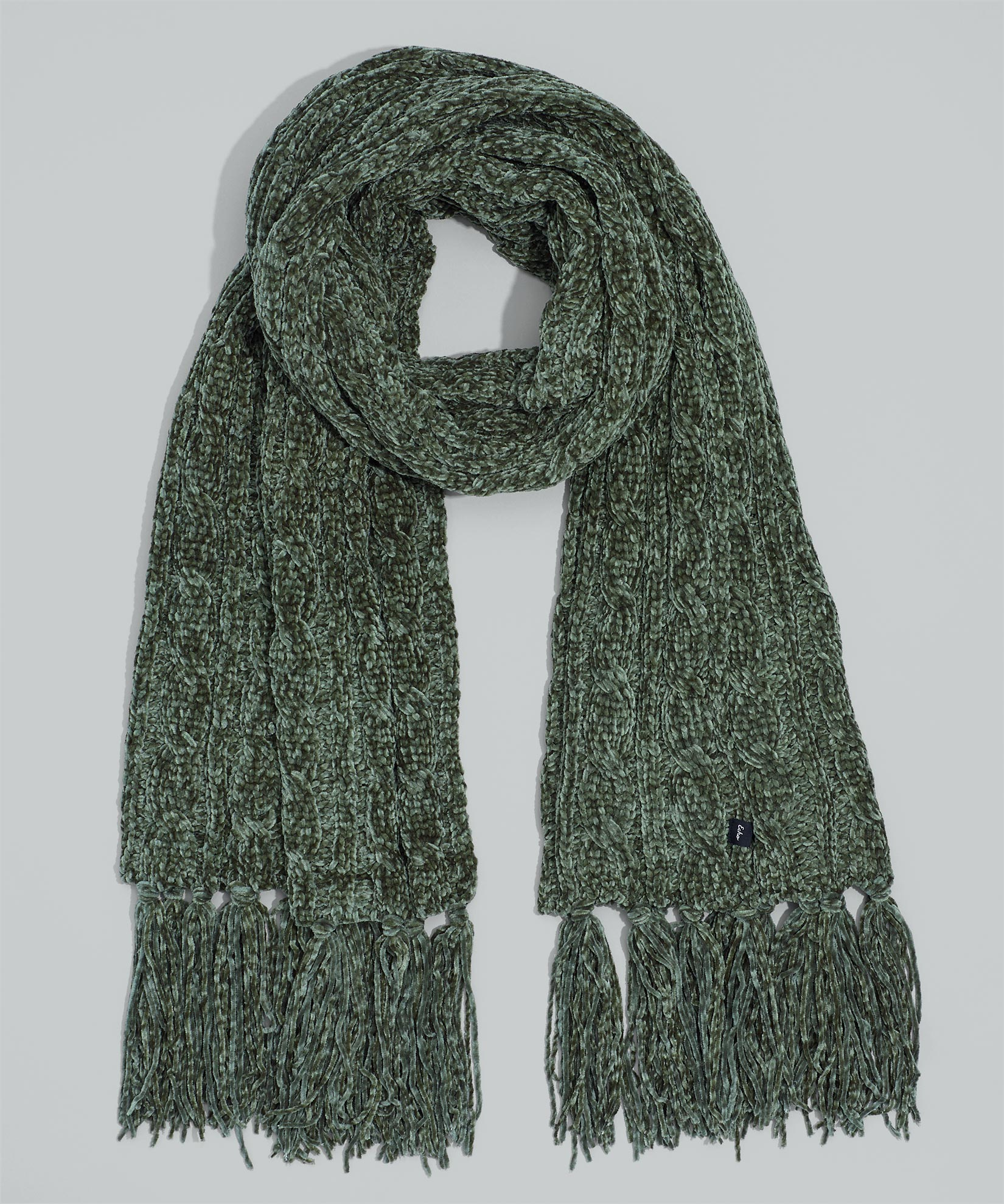 Olive - Chenille Muffler With Cables