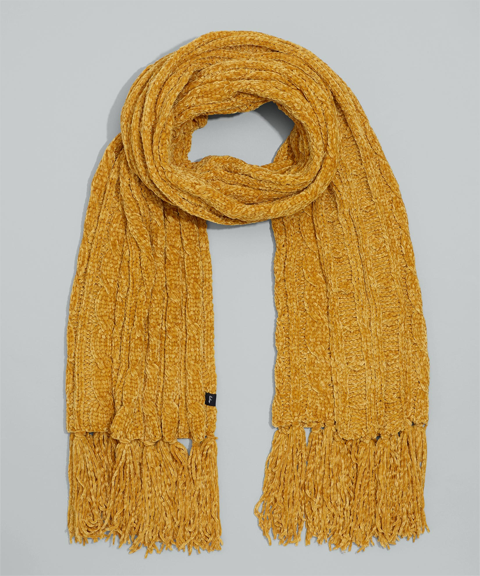 Gold - Chenille Muffler With Cables