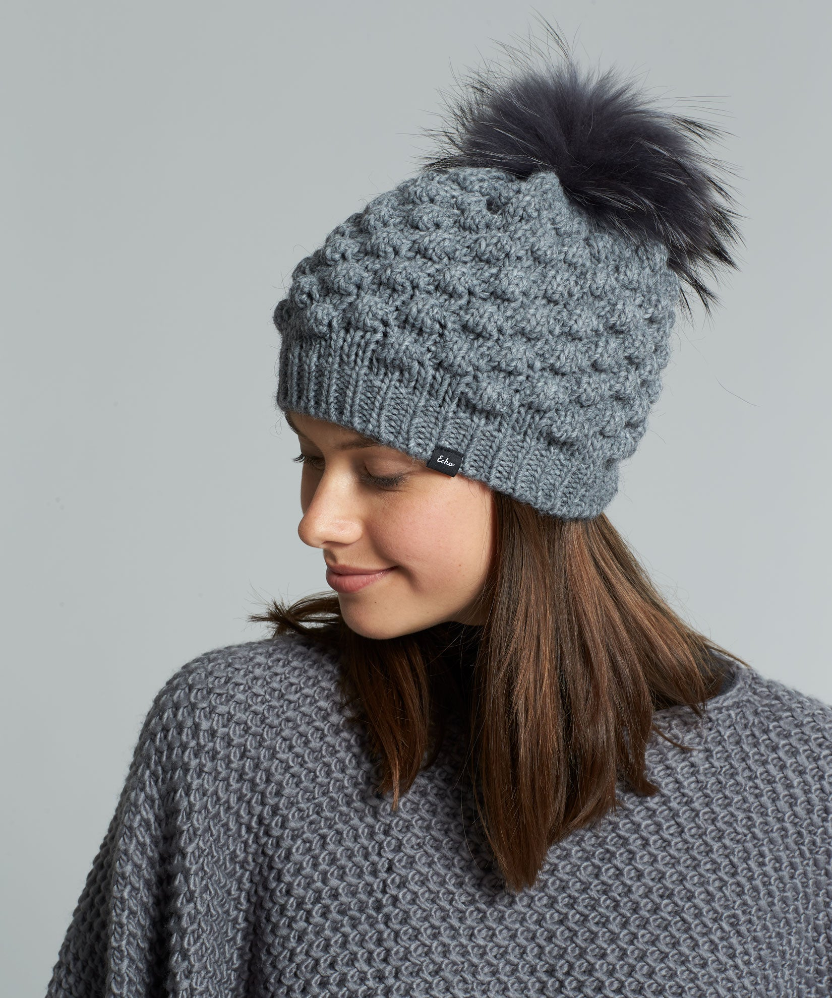 Echo Charcoal - Popcorn Hat With Pom
