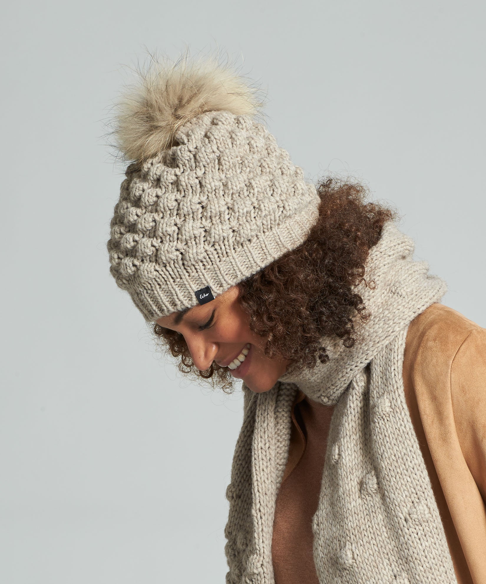 Teak - Popcorn Hat With Pom