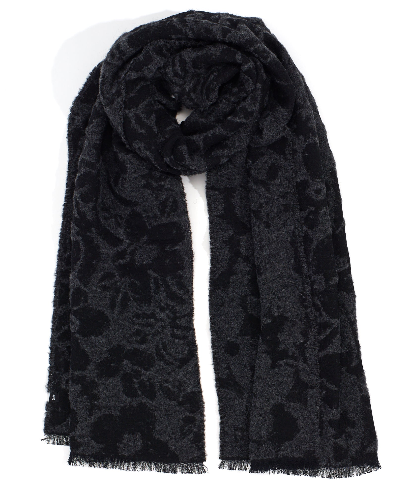 Charcoal - Boucle Flower Scarf