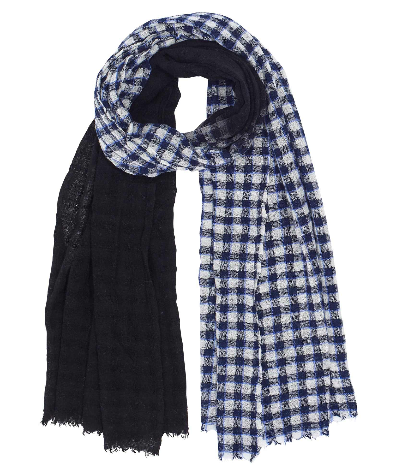 Echo Navy - Dip-Dye Halo Check Scarf