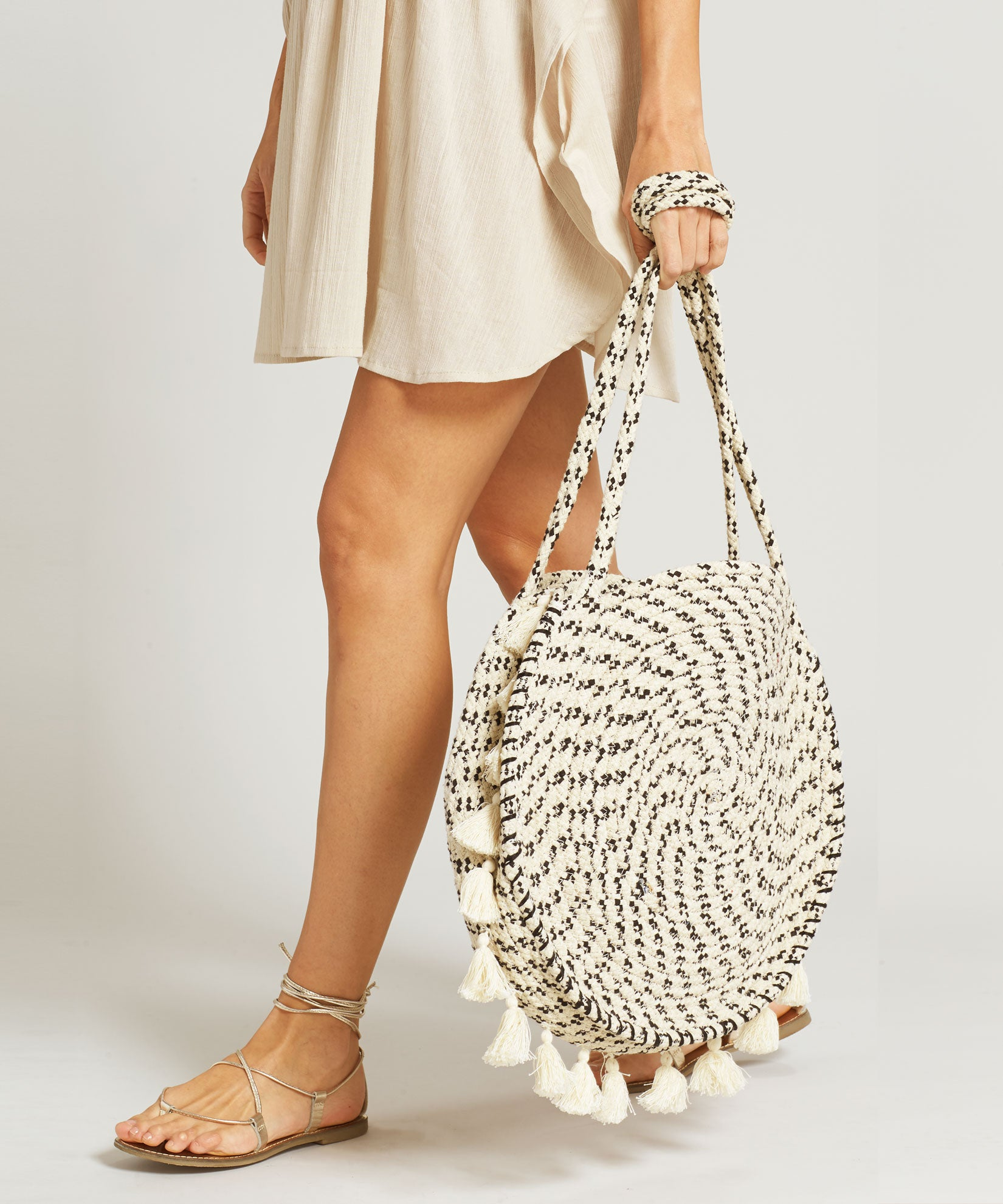 White - Braided Circle Bag