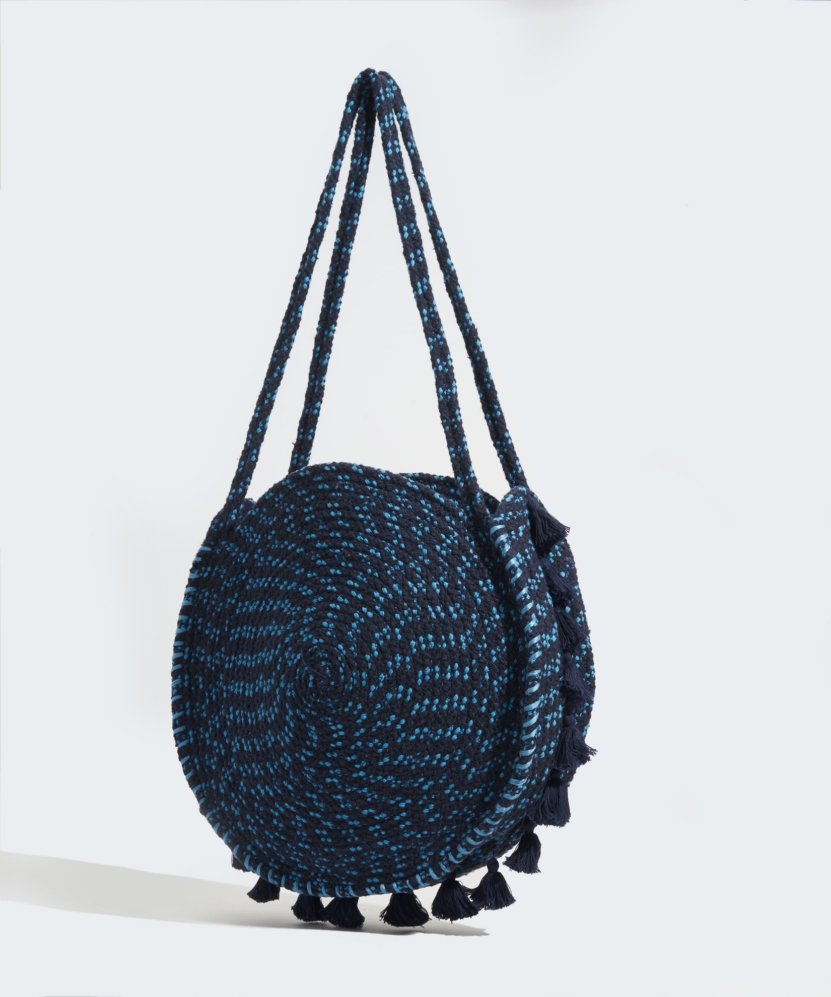 Navy - Braided Circle Bag