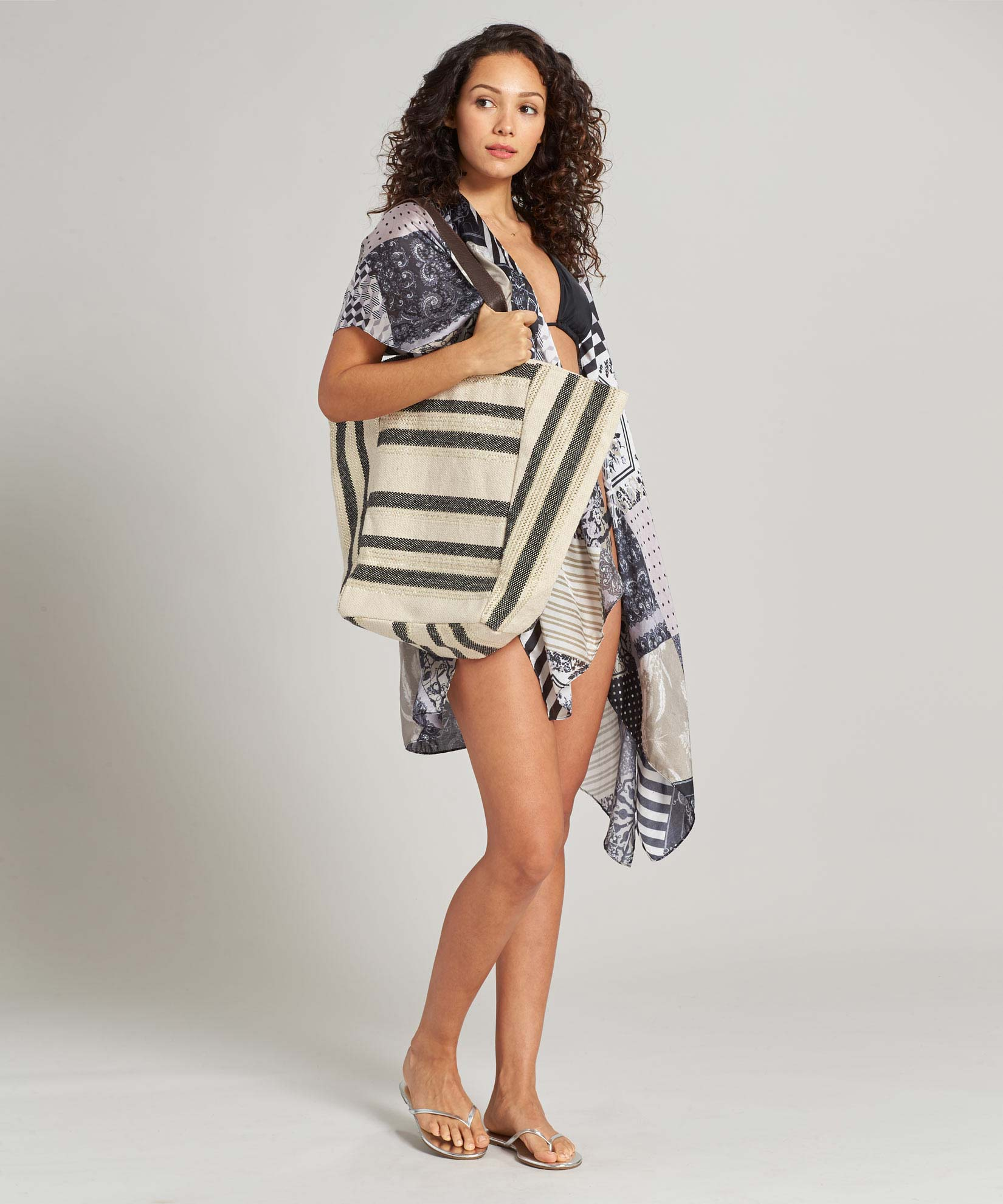 Black - Metallic Striped Tote