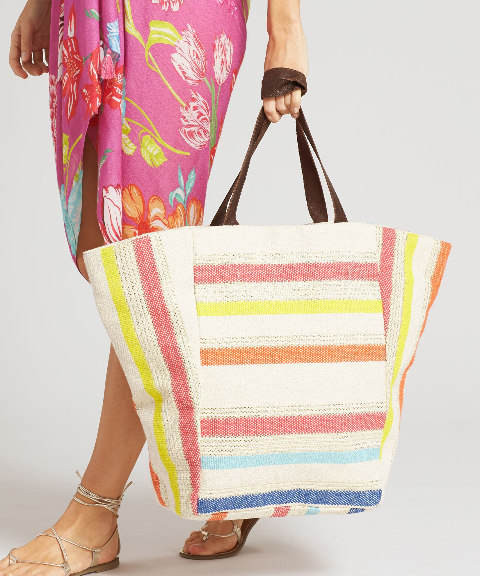 Multi - Metallic Striped Tote