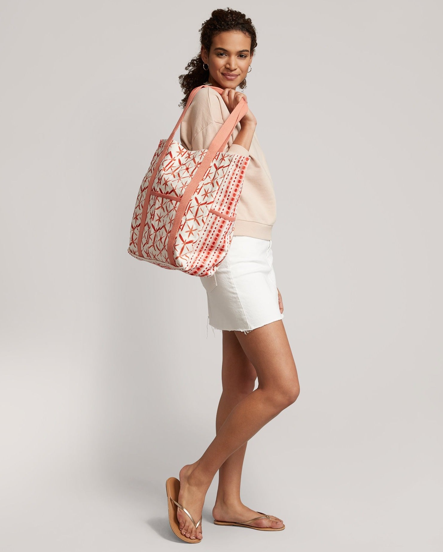 Sunset Coral - Shibori Beach Tote Bag