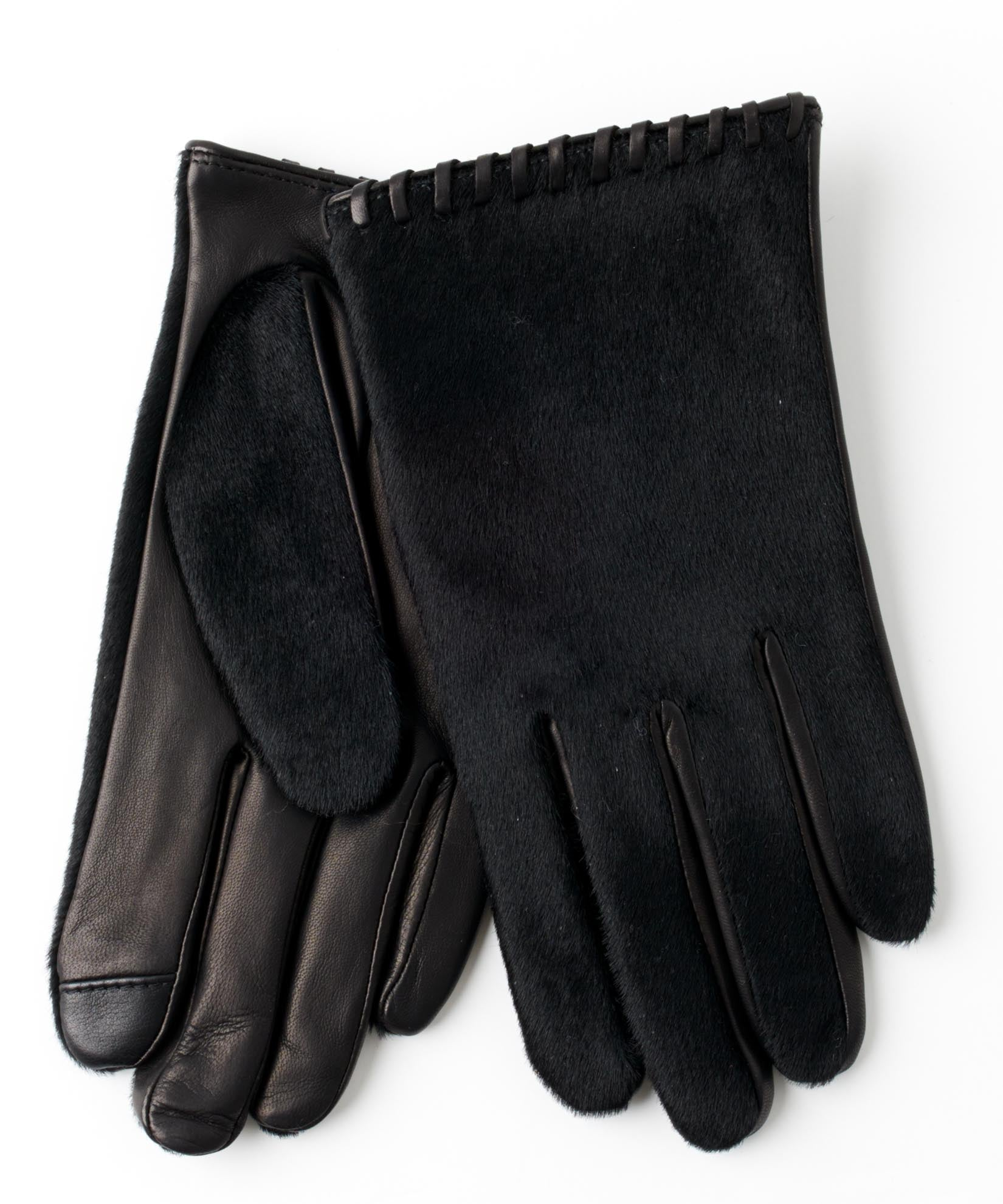 Black - Whipstitch Calf Hair Glove