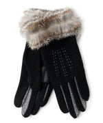 Black - Color Block Fur Cuff Glove