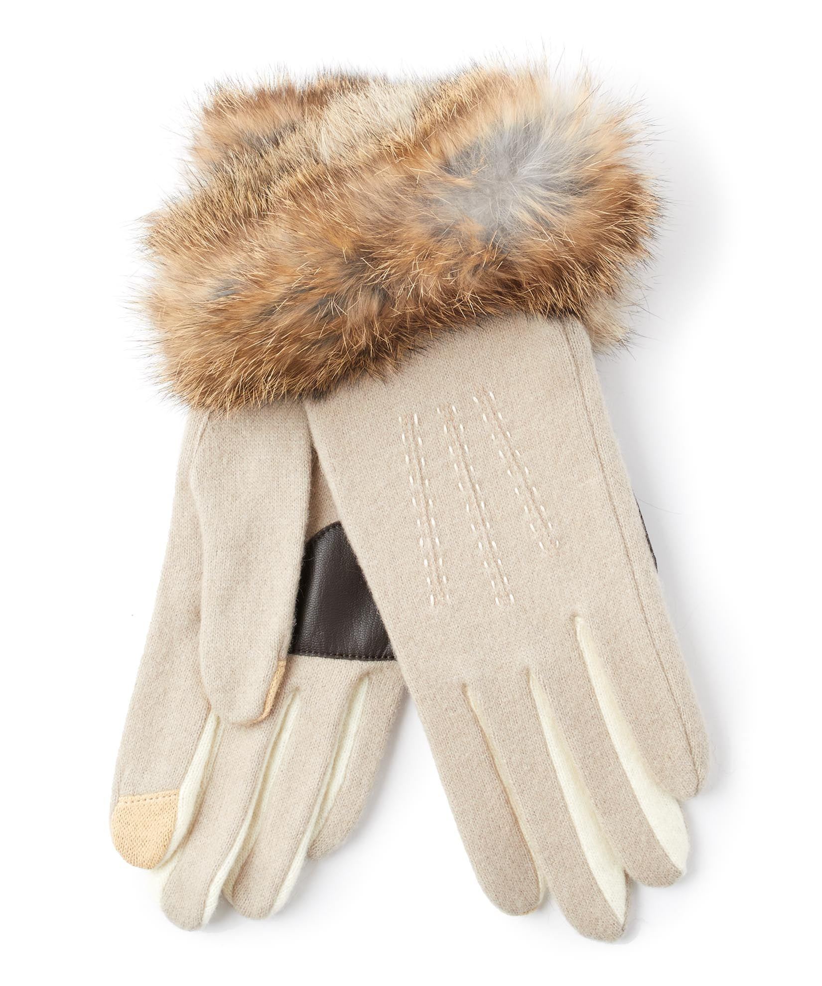 Oatmeal - Color Block Fur Cuff Glove
