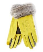 Celadon - Color Block Fur Cuff Glove