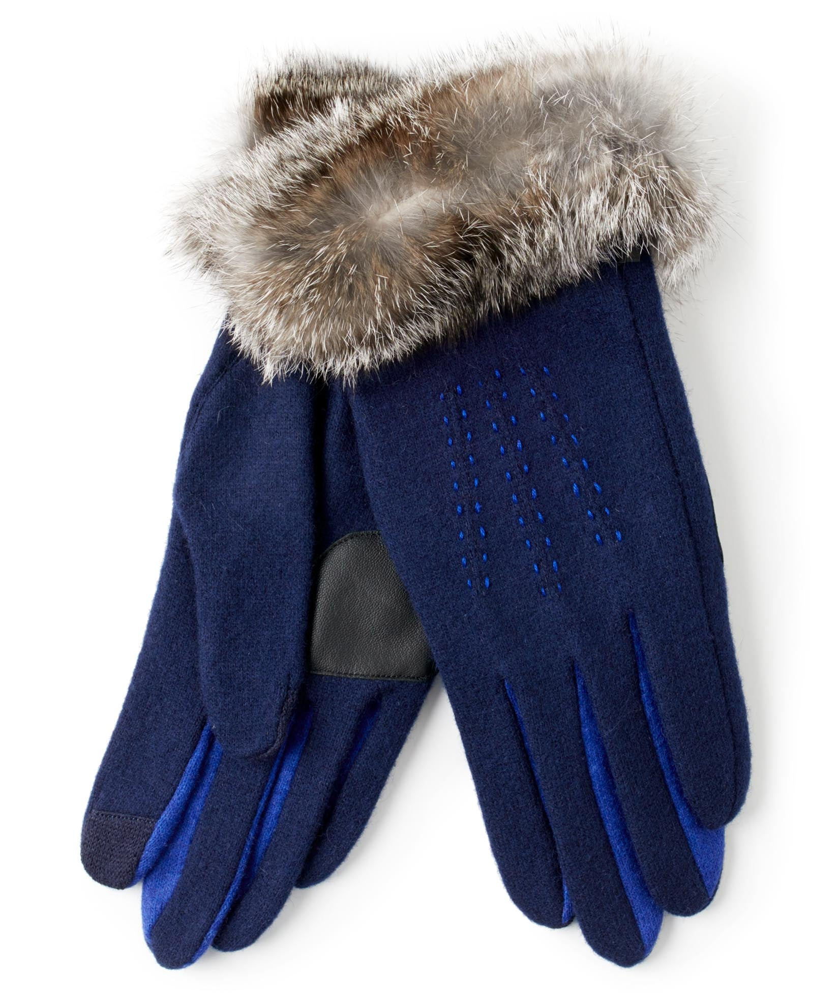 Maritime Navy - Color Block Fur Cuff Glove