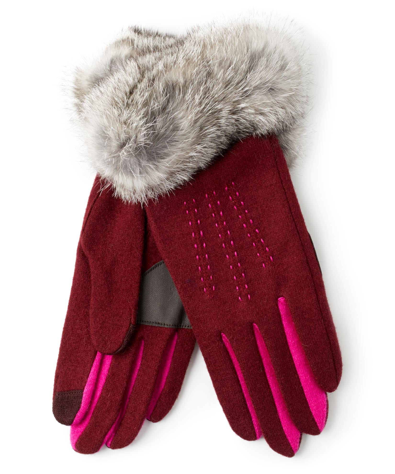 Port - Color Block Fur Cuff Glove