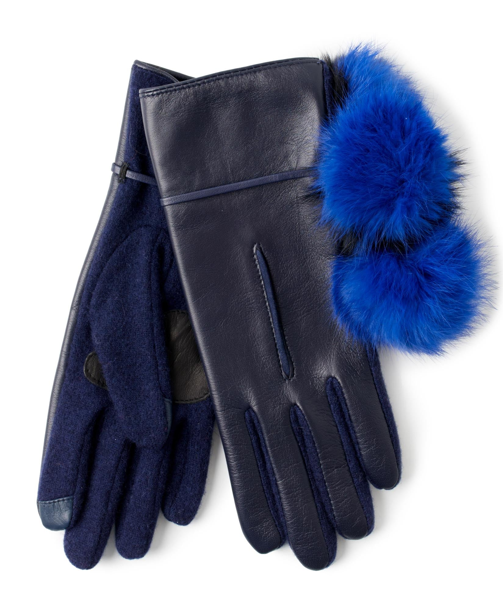 Maritime Navy - Colorblock Fur Pom Glove