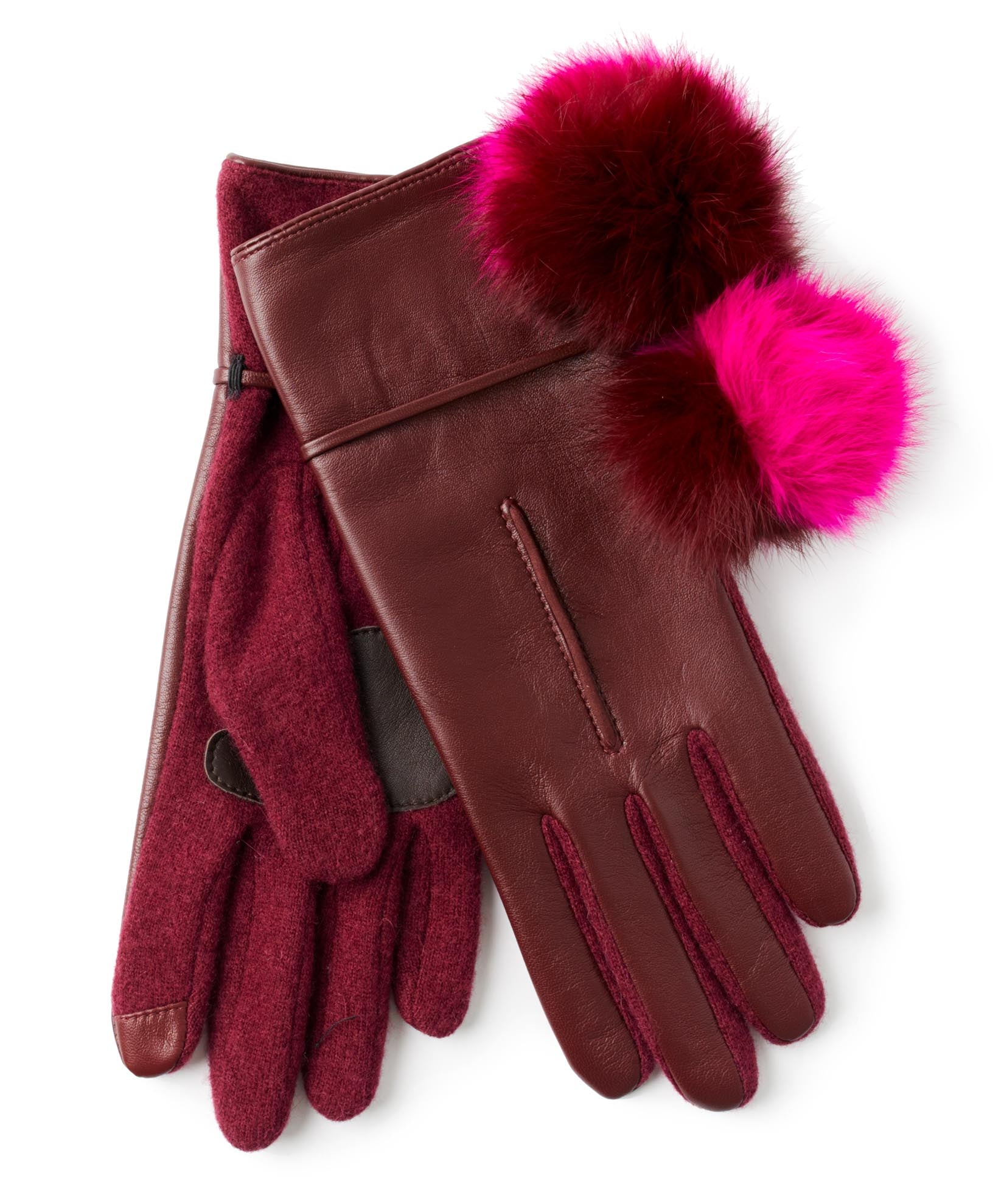 Port - Colorblock Fur Pom Glove