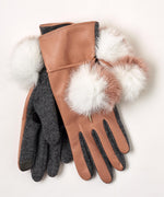 Blush - Colorblock Fur Pom Glove