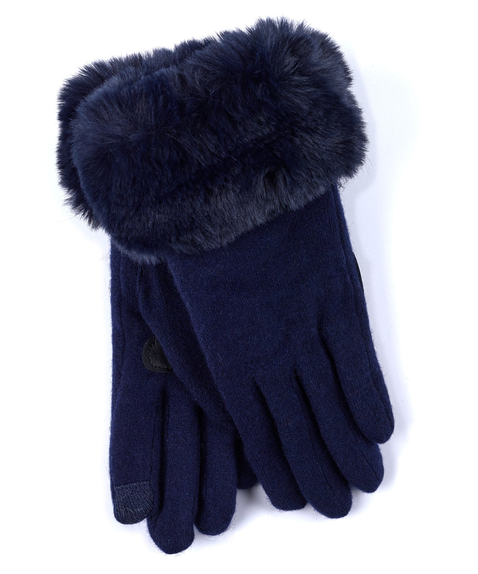 Echo Navy - Faux Fur Cuff Glove