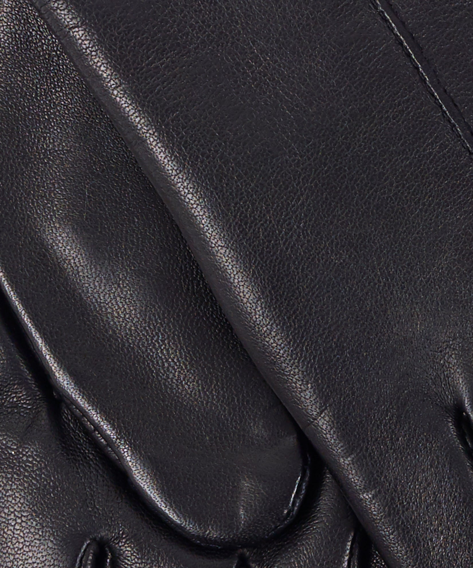 Black/Black - Leather Colorblock Fourchette Glove