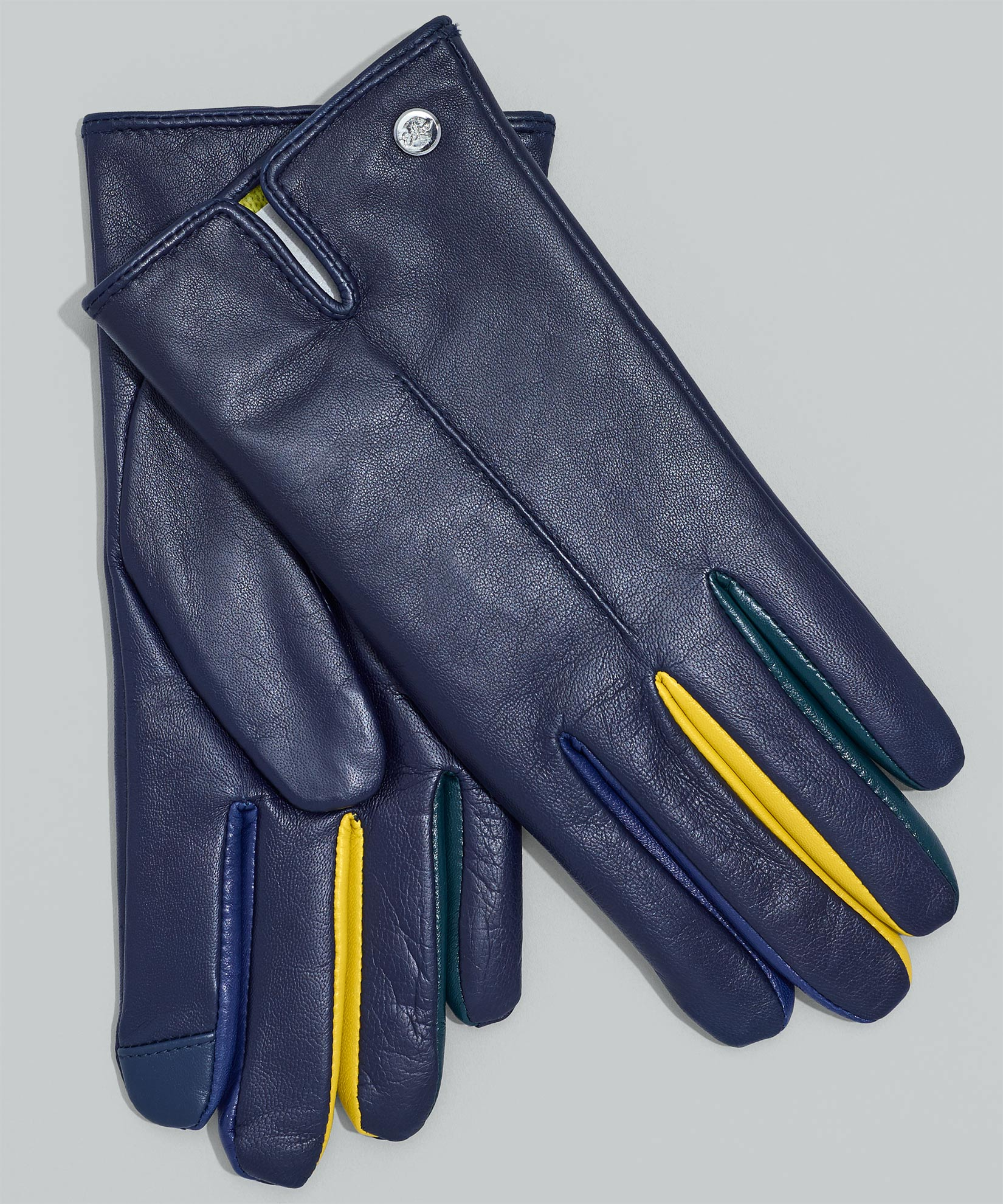 Echo Navy - Leather Colorblock Fourchette Glove