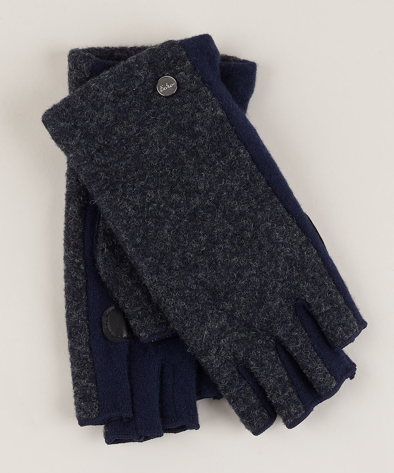 Navy - Boucle Fingerless Glove