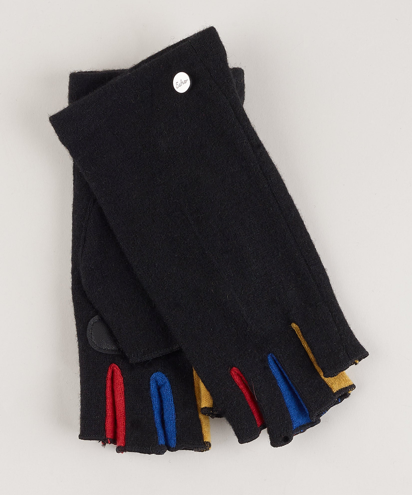 Black - Colorblock Fourchette Fingerless Glove