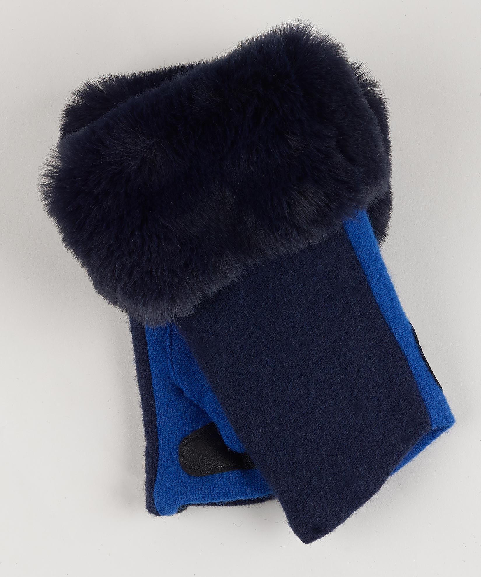 Navy - Faux Fur Fingerless Glove