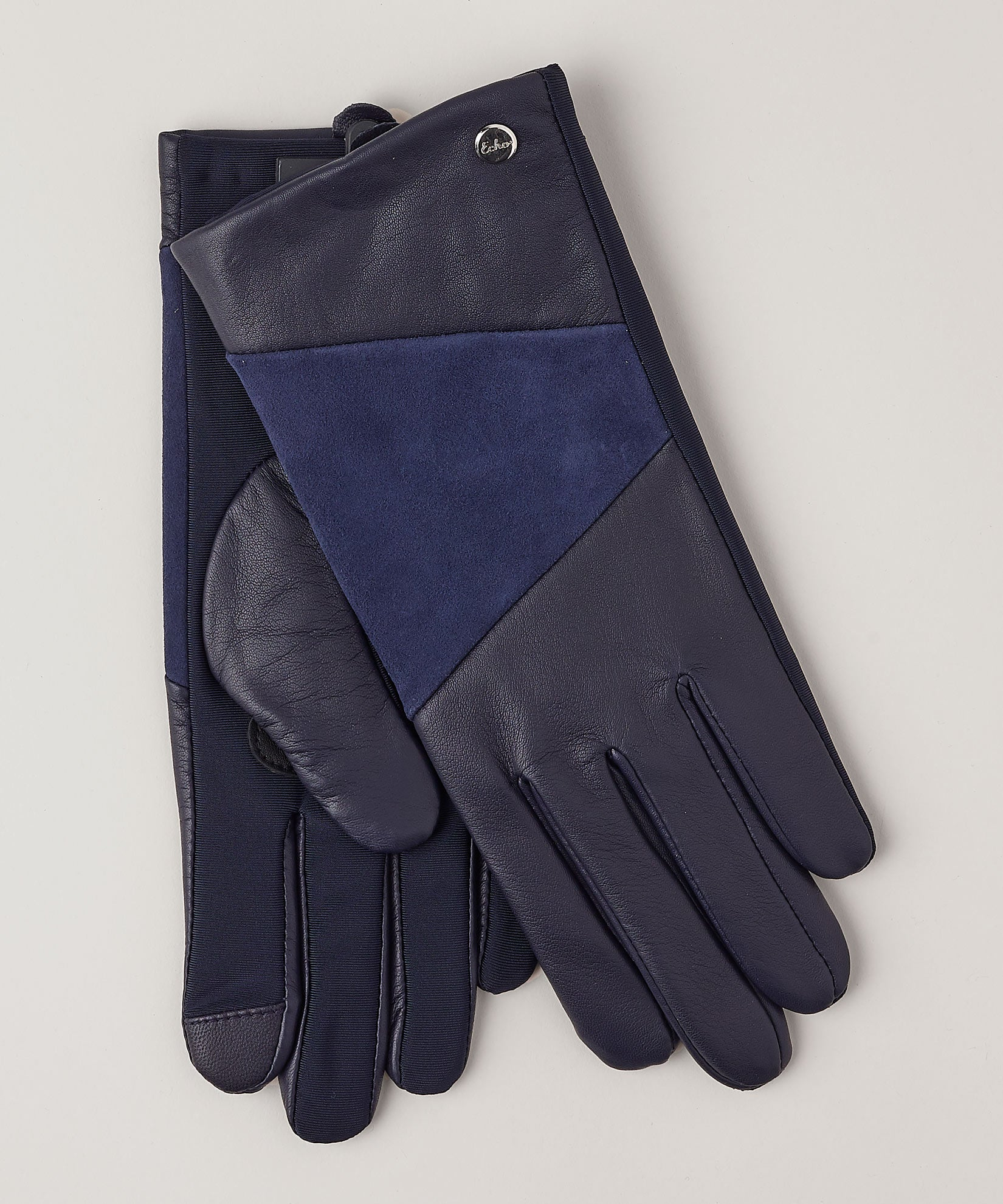 Navy - Leather Block Superfit Glove