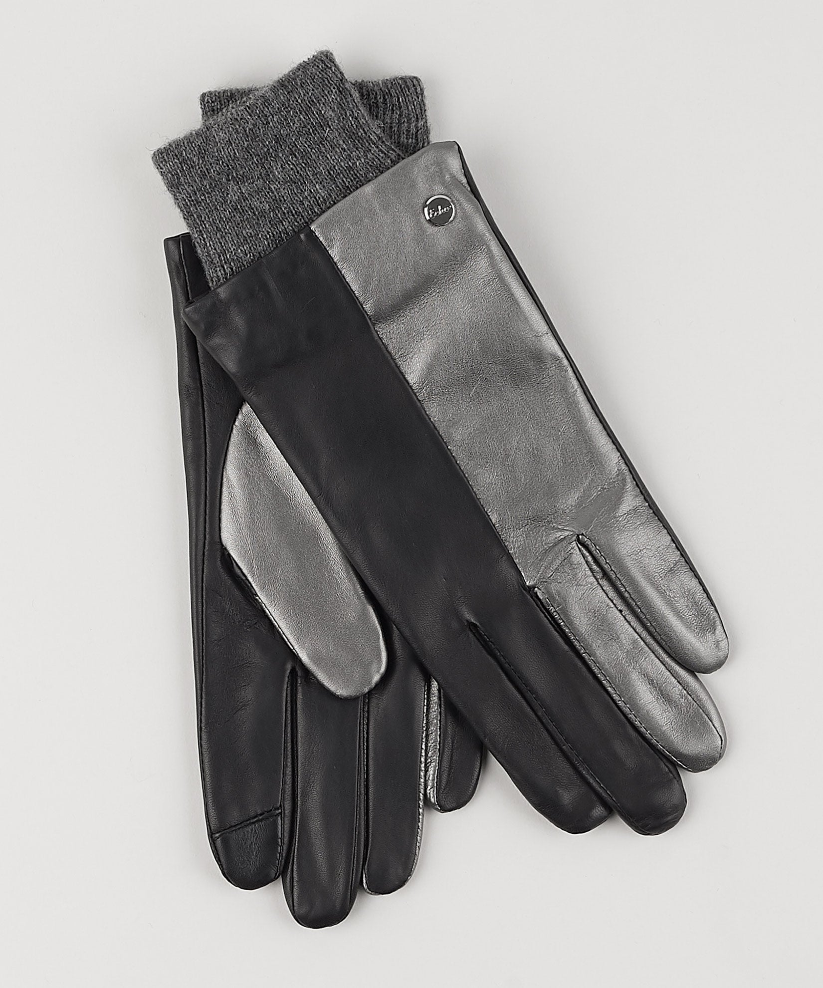 Black - Leather Colorblock Glove