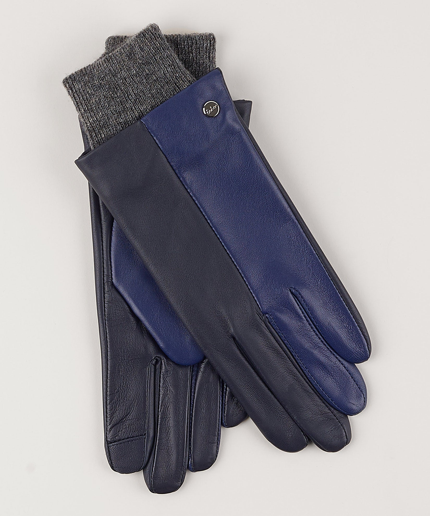 Navy - Leather Colorblock Glove