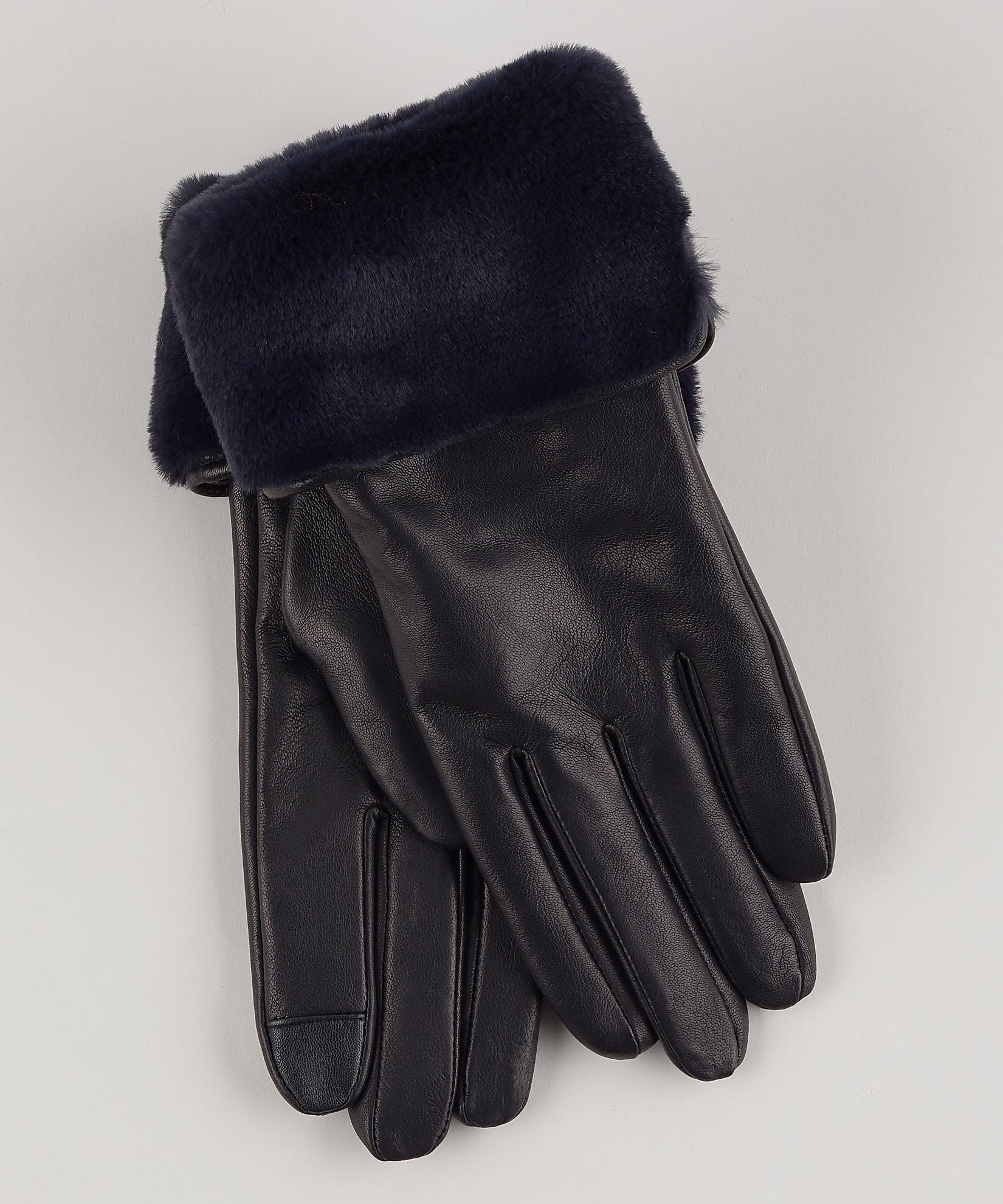 Black - Faux Fur Cuff Glove