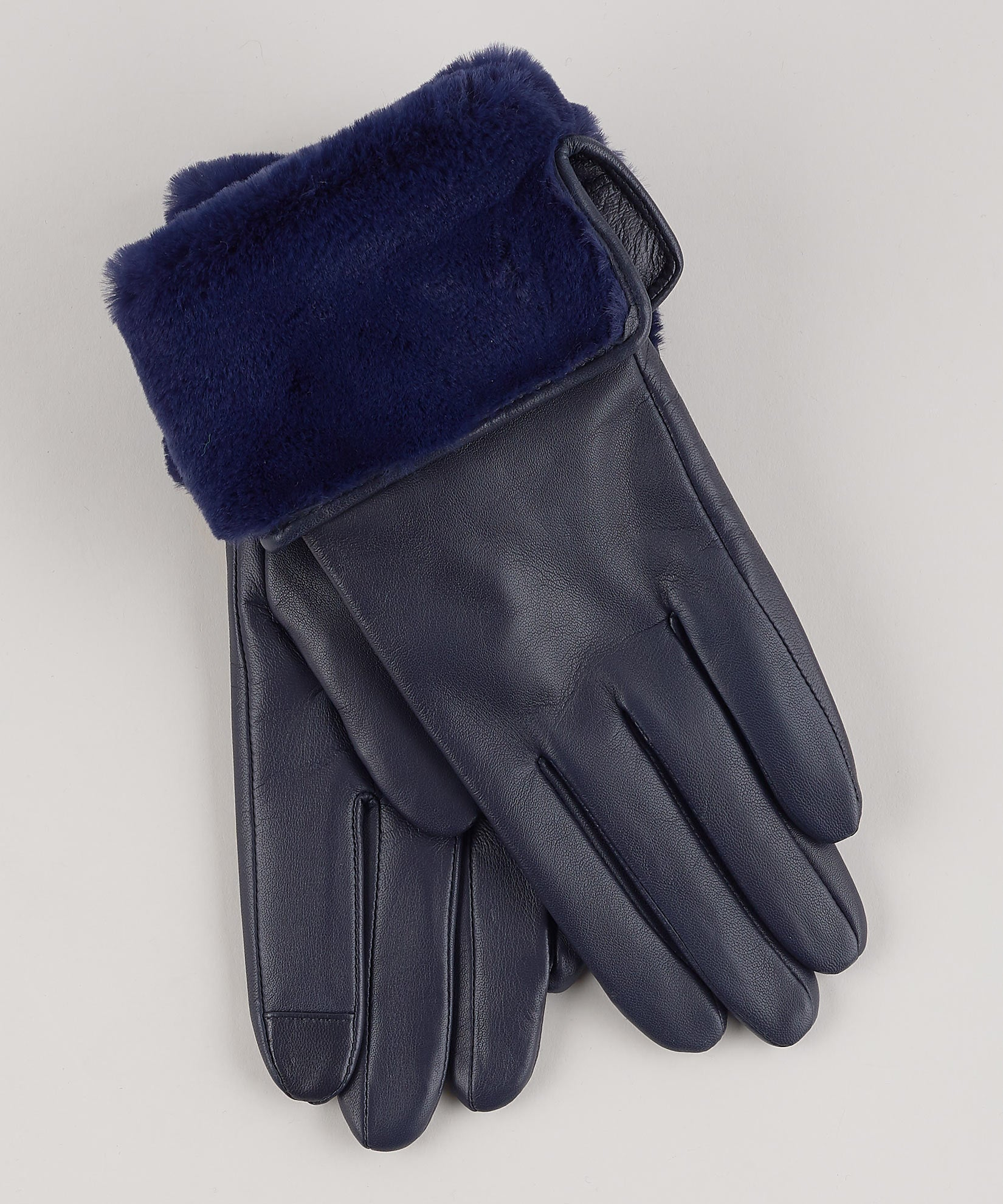 Navy - Faux Fur Cuff Glove