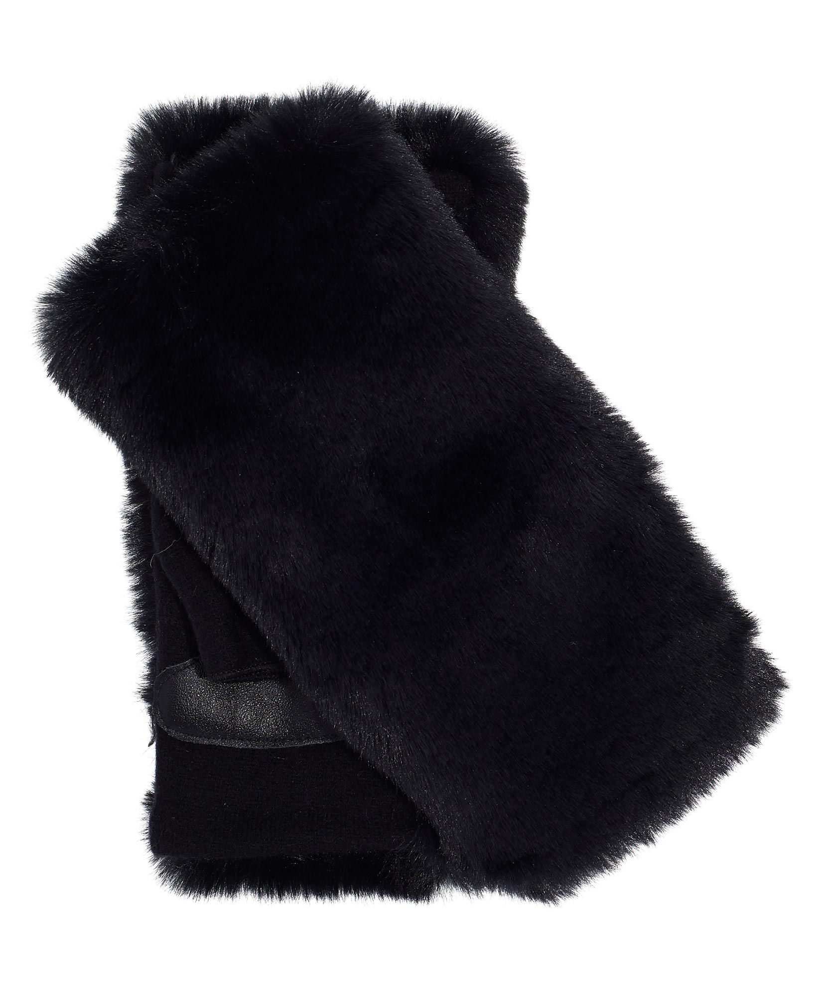 Black/Black - Faux Fur Fingerless Glove