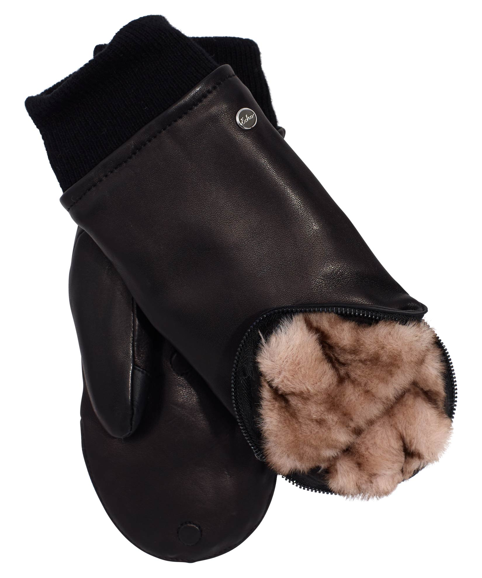 Black/Natural - Zip Top Faux Fur Leather Mitten
