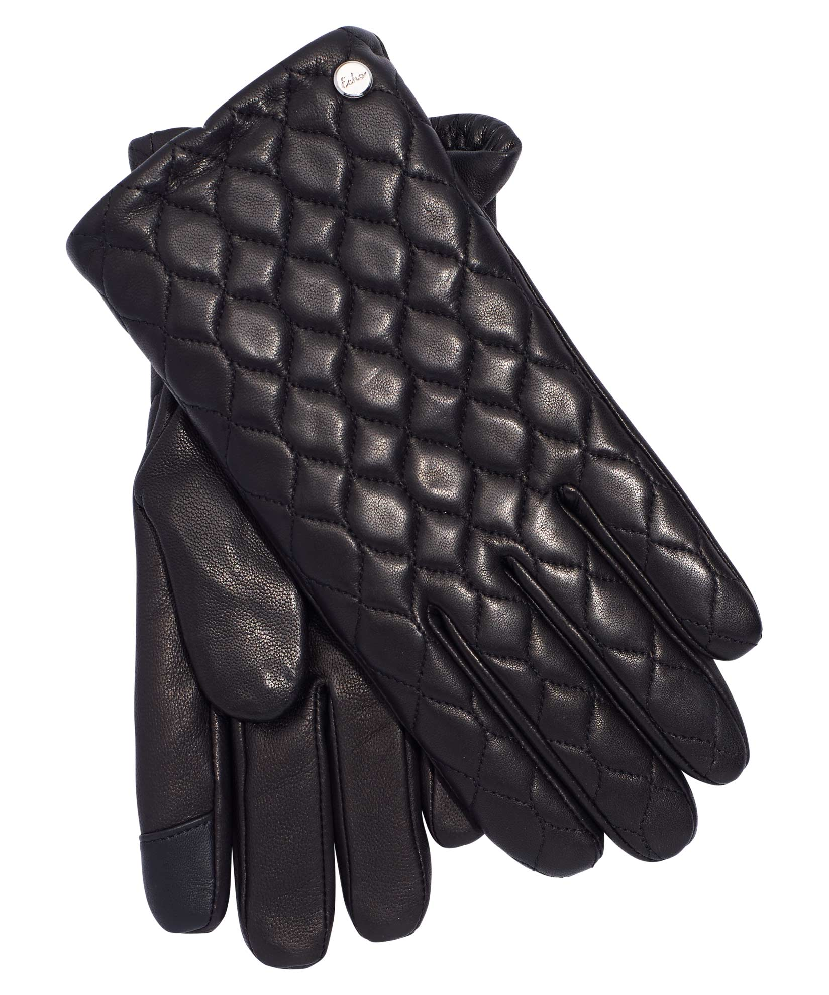 Black - Quilted Leather Touch Glove