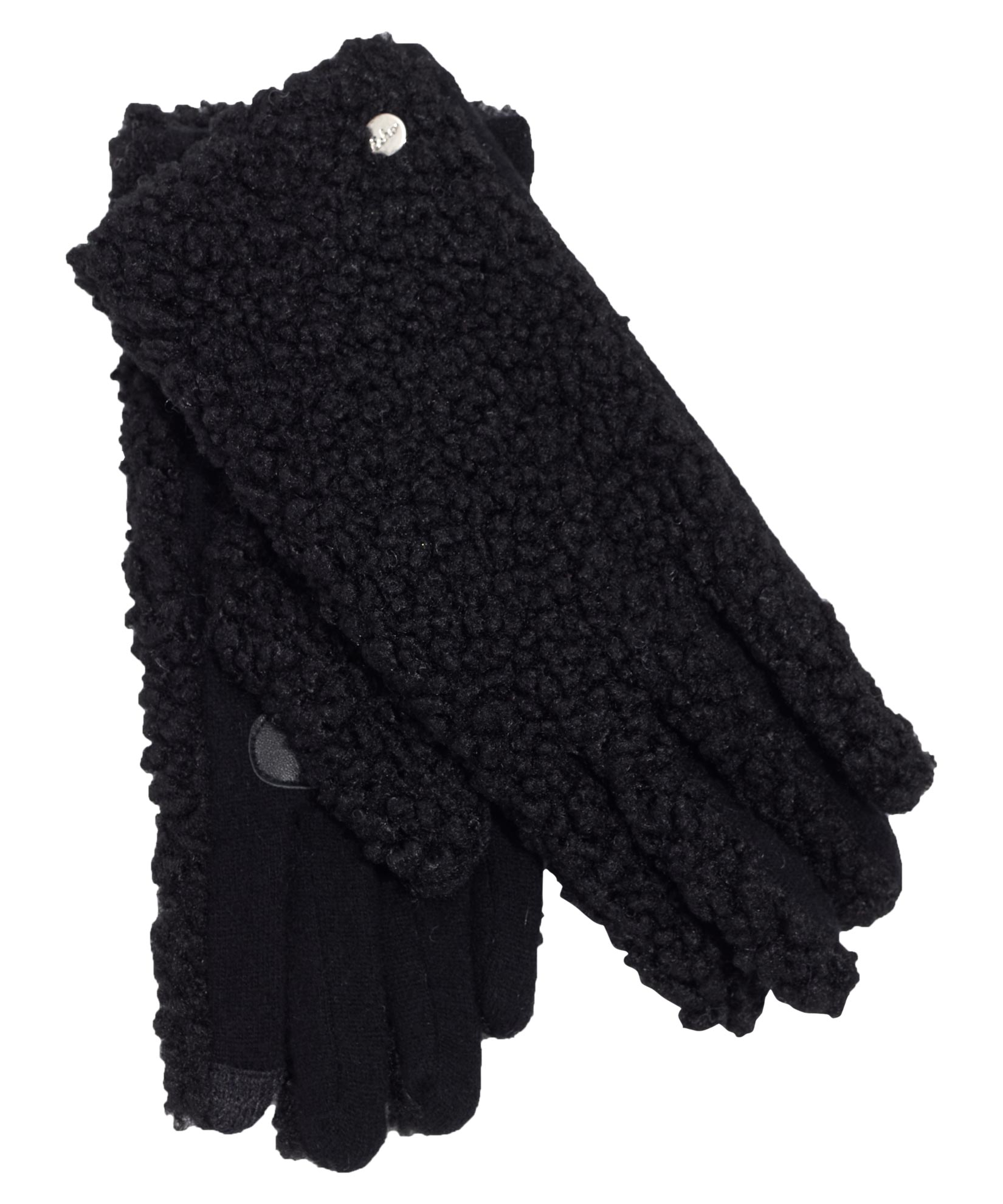 Black - Solid Faux Shearling Touch Glove