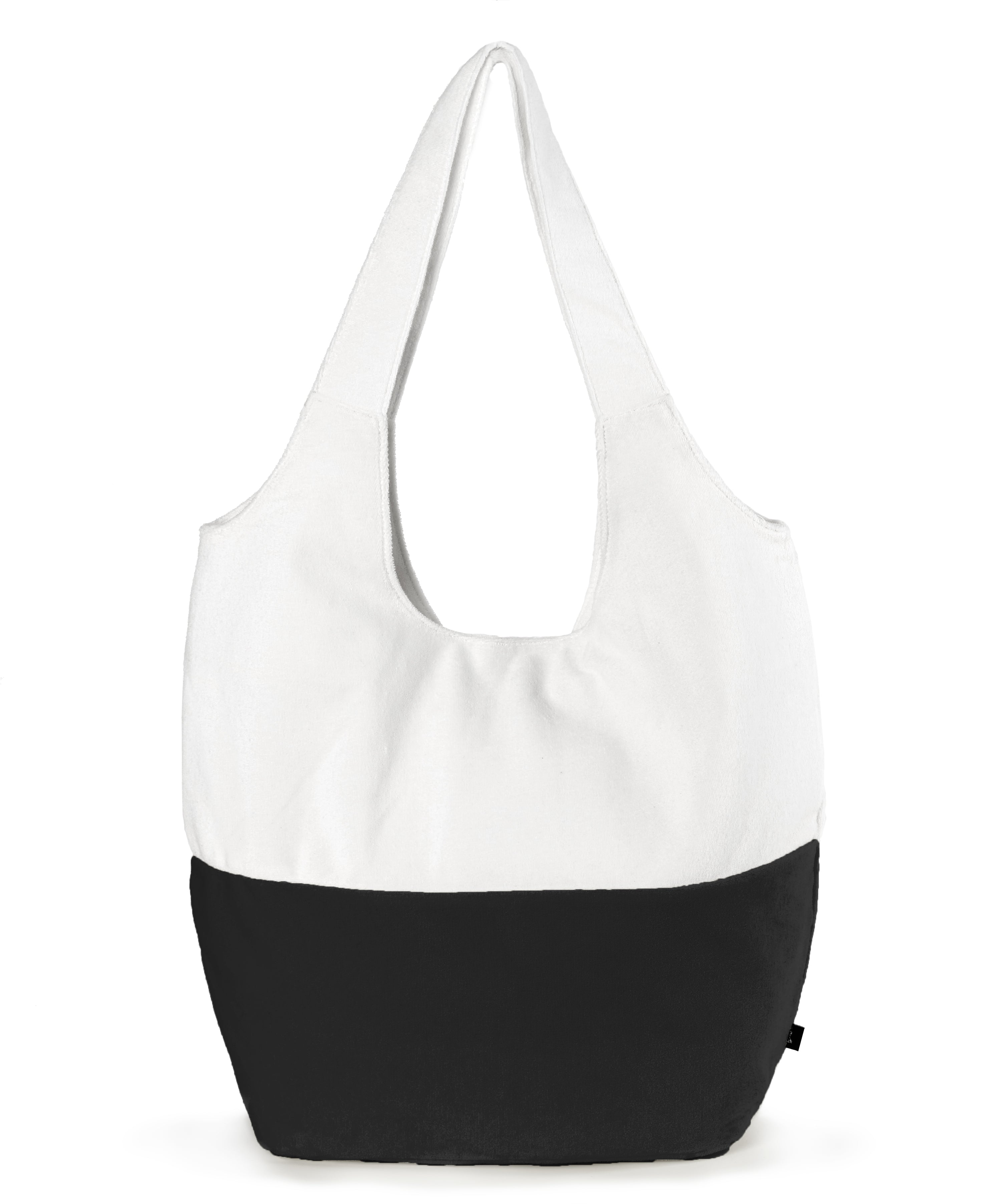 Black - Colorblocked Terry Slouchy Hobo