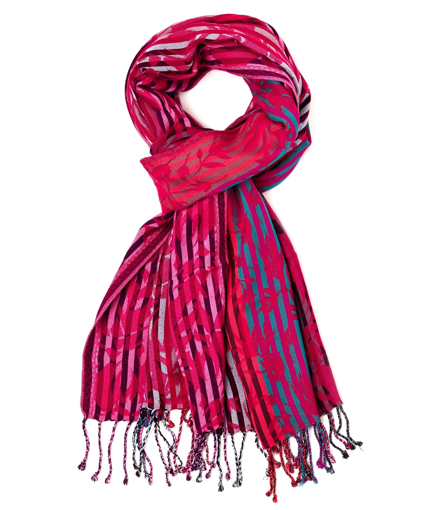 Crimson - Fall Leaves Jacquard Wrap