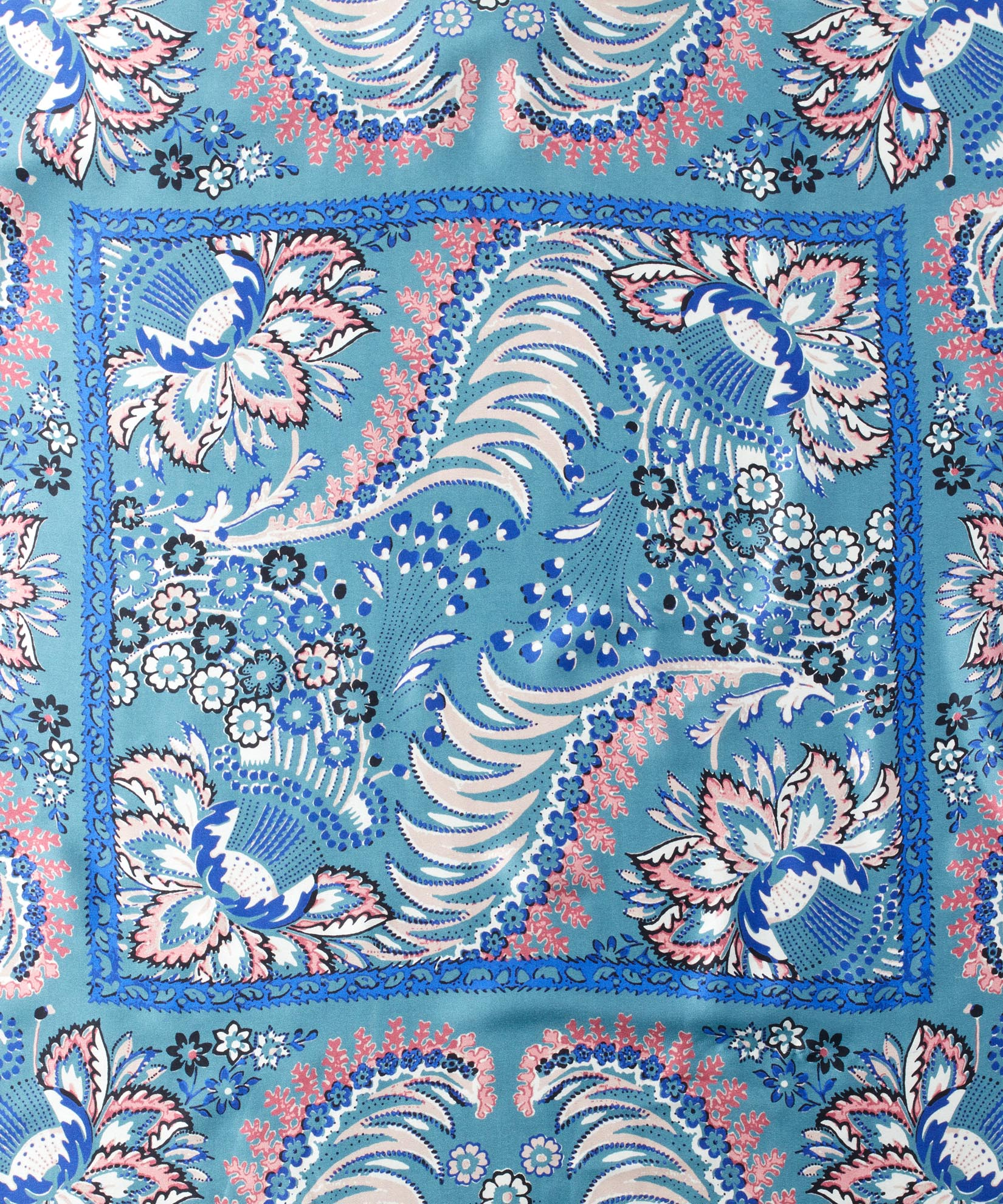 Teal - Jacobean Double-Faced Silk Square