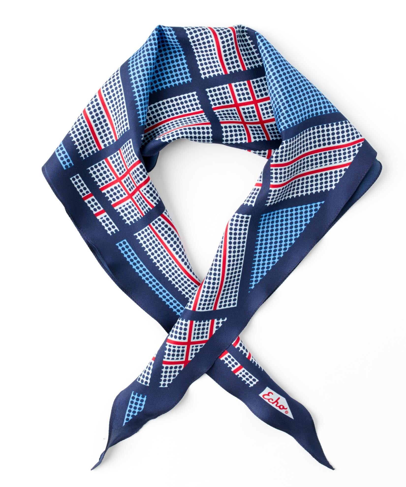 Maritime Navy - Dotted Plaid Silk Diamond