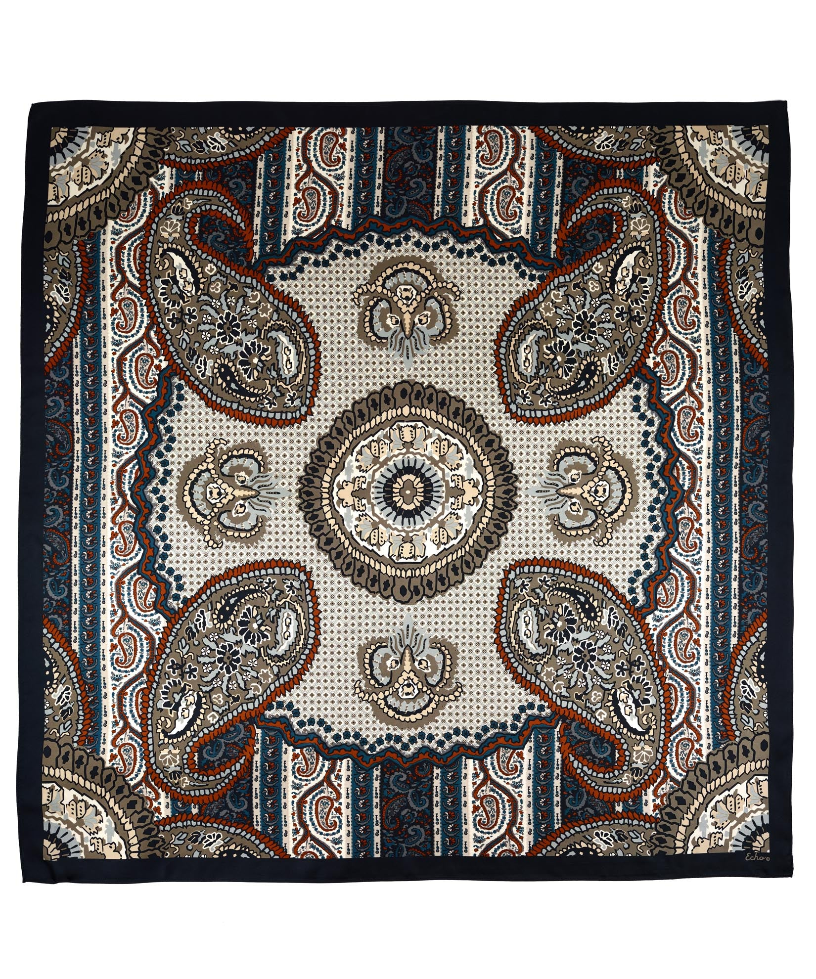 Black - York Paisley Silk Square
