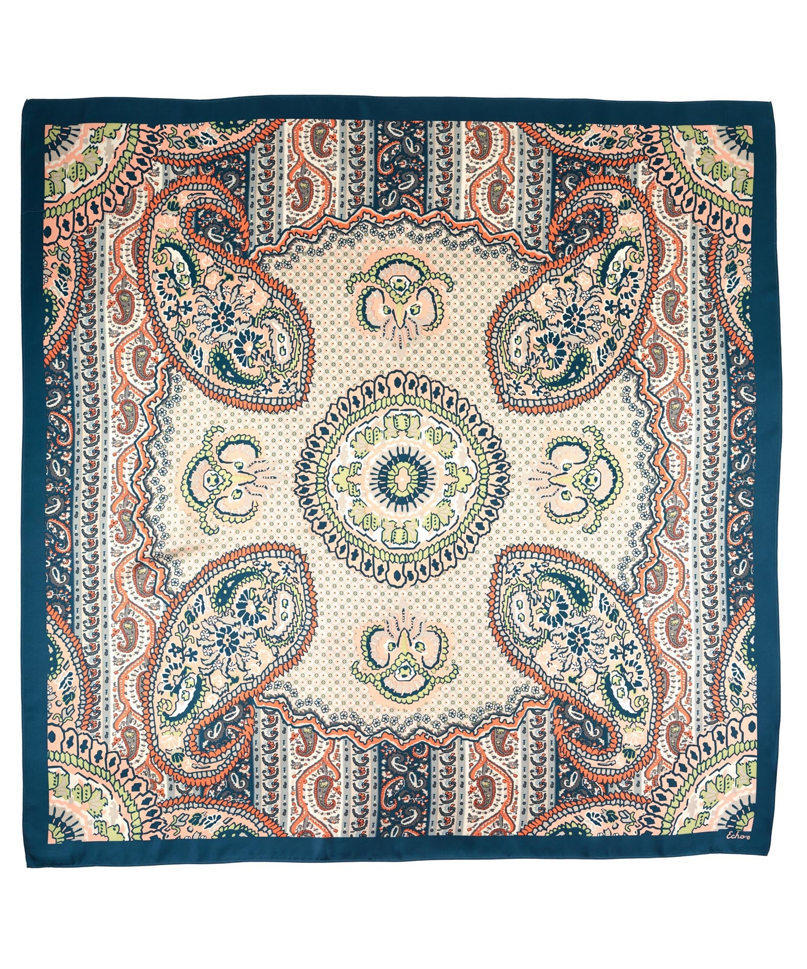 Teal - York Paisley Silk Square