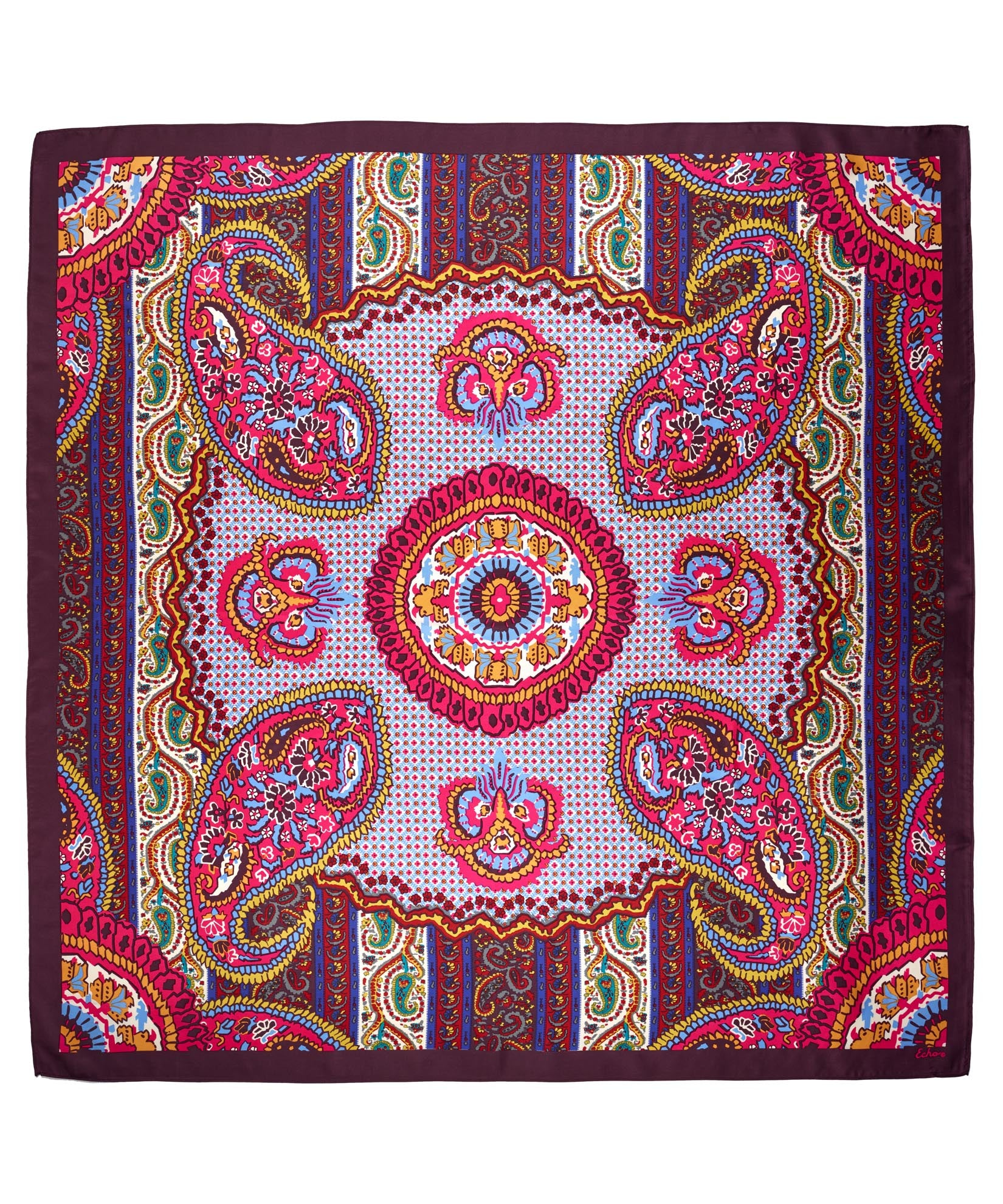 Multi - York Paisley Silk Square