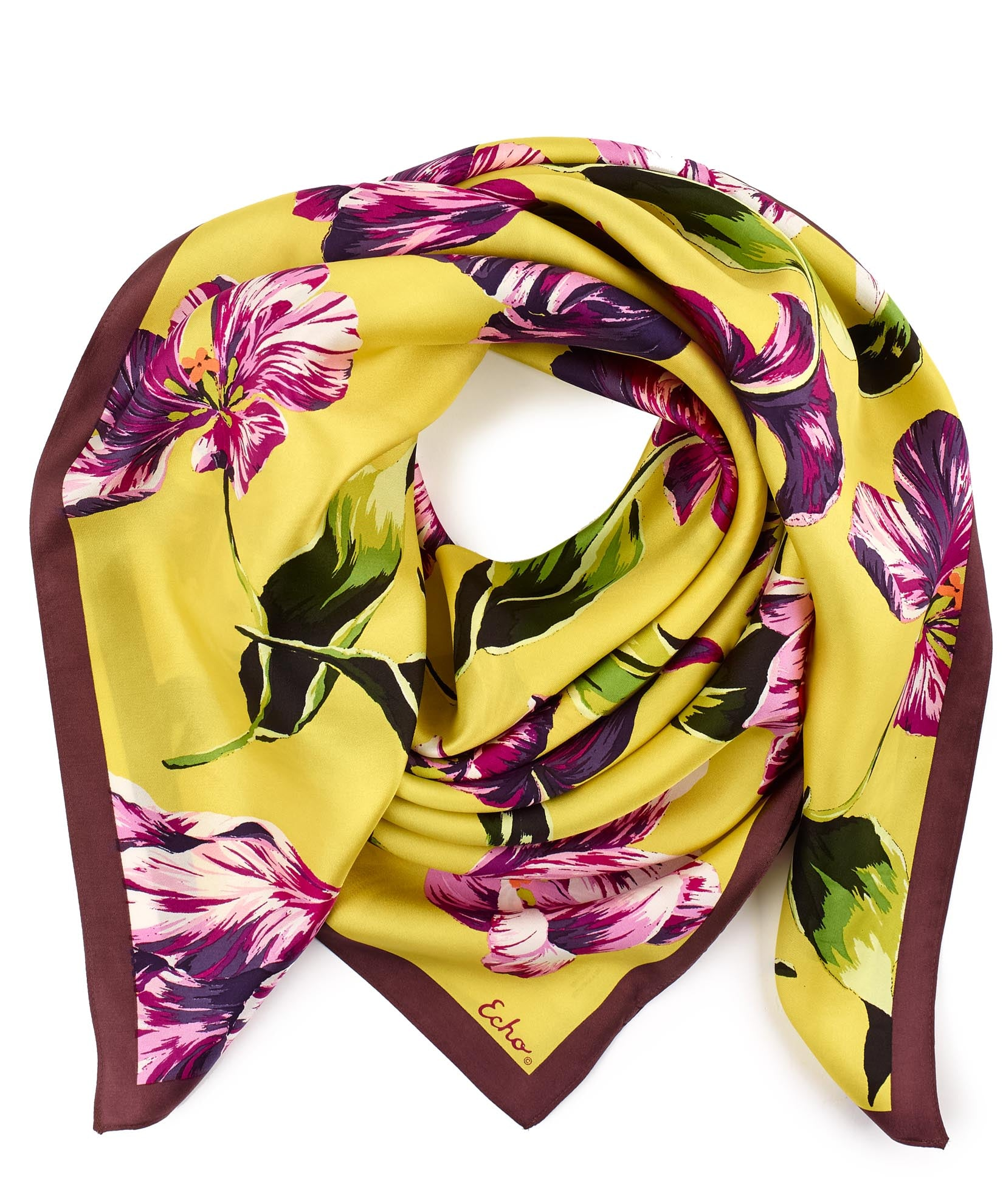 Warm Olive - Buckingham Tulips Silk Square