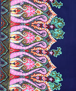 Navy - Sea Fan Paisley Silk Oblong