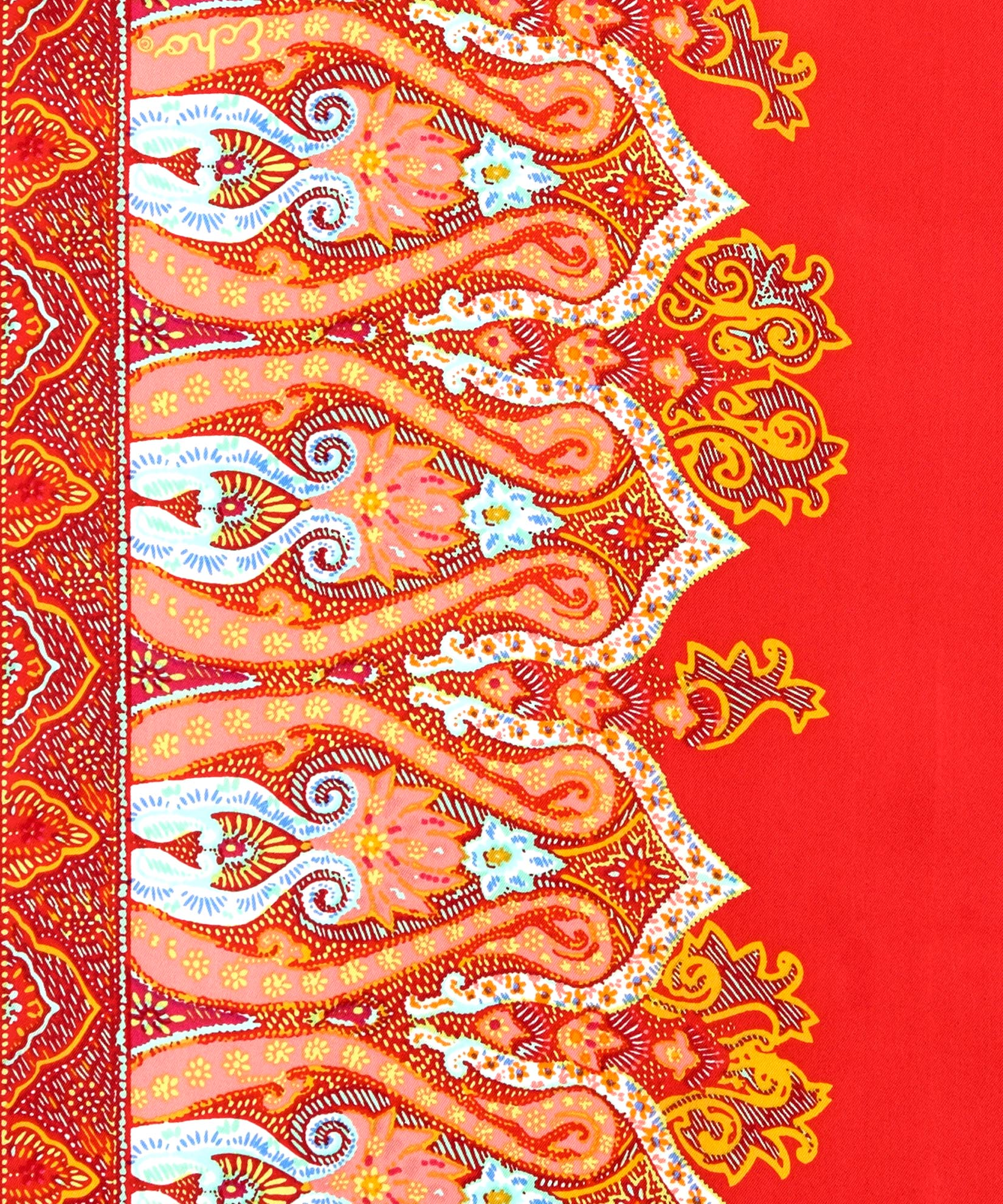 Hibiscus - Sea Fan Paisley Silk Oblong